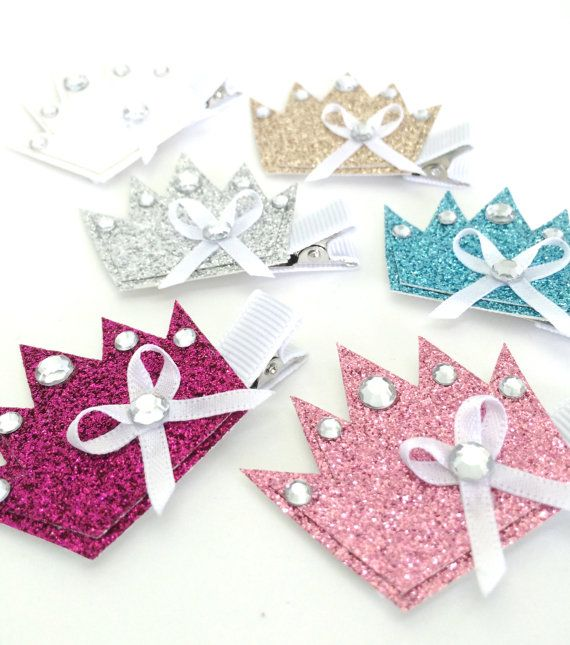 Crown Hair Clips  Glitter Hair Clips  Toddler by MiniMayDesigns