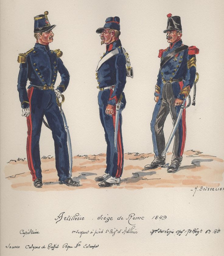 Siege Of Rome 1849, French Artillery, L to R Captain. Sergeant a Pied5th Regt & Marechal de Logis Chef 7th Regt by H.Boisselier
