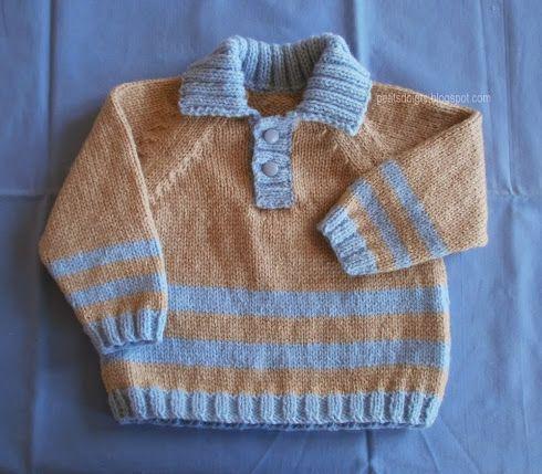 Modèle classique de pull polo avec des manches raglans. Je ne conseille pas ce modèle aux débutantes. Taille : 6 mois Laine : 2 pelo...