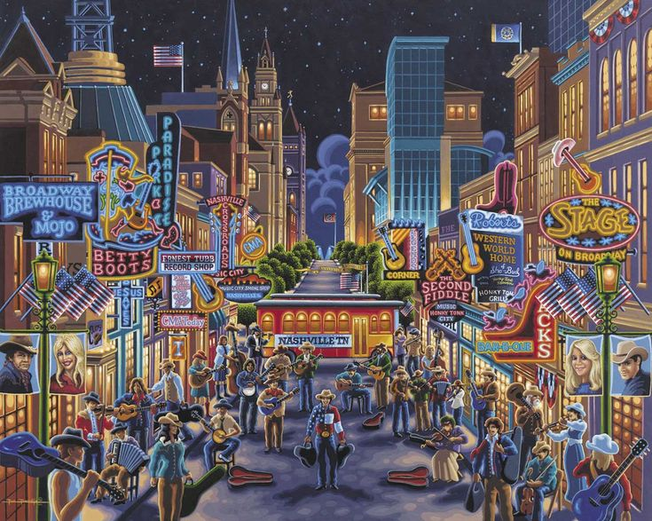 Dowdle Folk Art Puzzles are one of the most popular ways to enjoy Eric Dowdle's artwork. Enjoy it over and over again or mount it and frame it for a fun decoration. Puzzle is 500 pieces and is 16 x 20. Released 2012.Nashville, the capital of Tennessee, is often referred to as the Music City. It's the home of the Grand Ole Opry and the Country Music Hall of Fame and Museum. It is considered the birthplace of country music, and continues to showcase it through numerous events that attra...