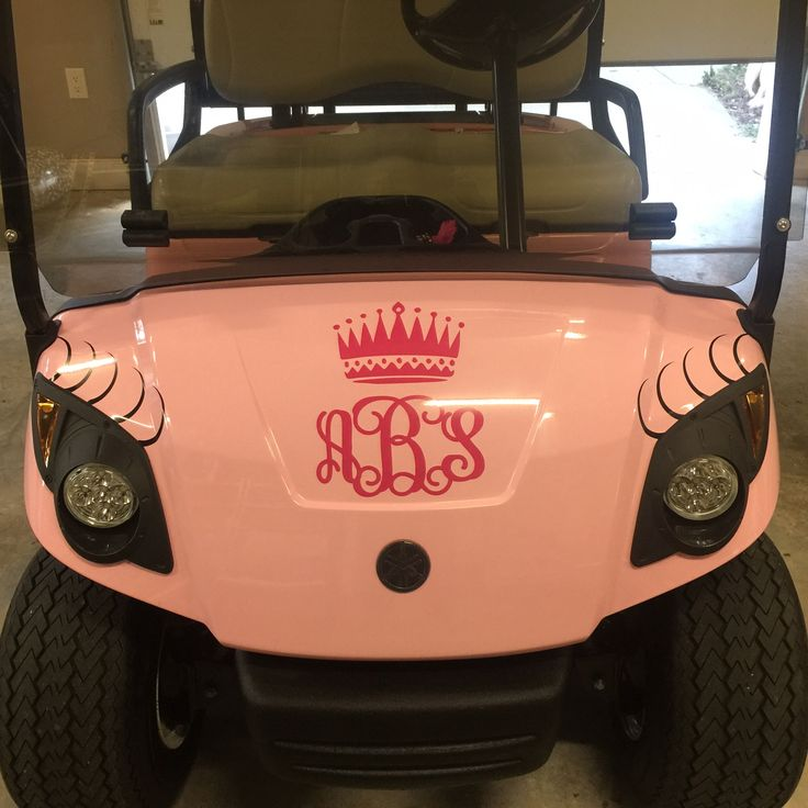 Eyelashes and initials in vinyl on my girl's golf cart.