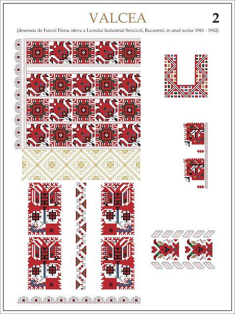 Semne Cusute: ie din VALCEA (2)  Modele de ii Romanesti din caietul elevei Furcoi Elena, de la Liceul Industrial Sericicol Bucuresti, care a desenat aceste planse in clasa a VIII-a, anul scolar 1941 - 1942