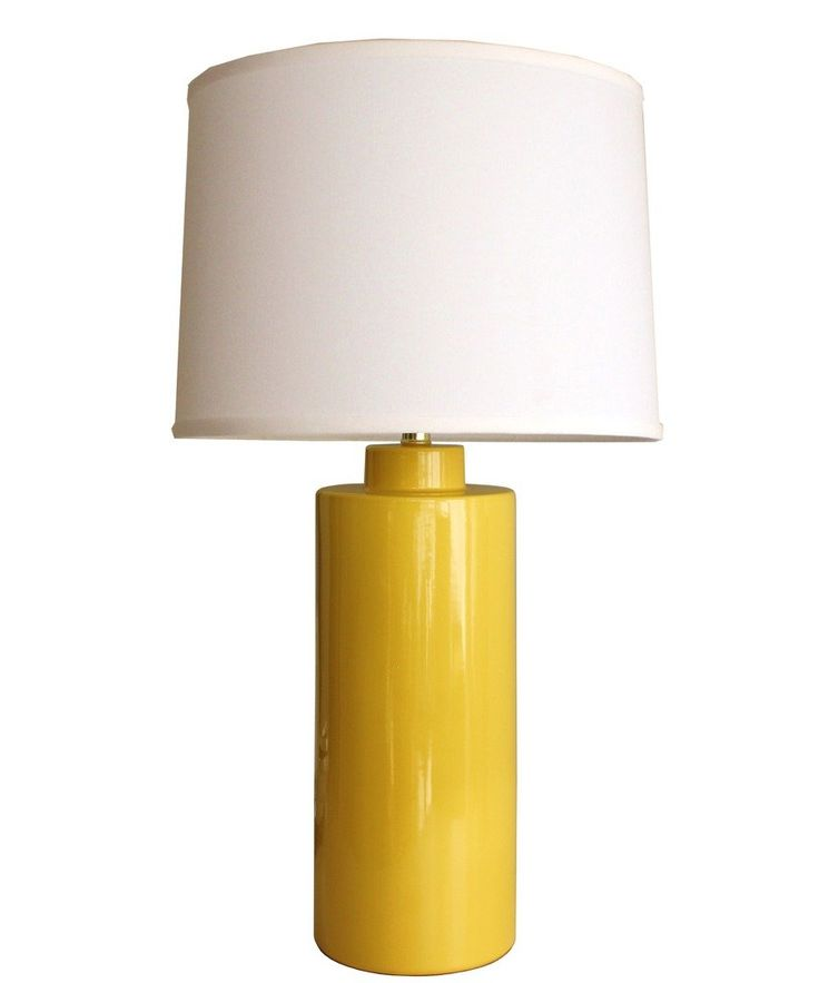 """- """"Truman"""" Table Lamp in Sunflower Yellow - ceramic base glazed in a vibrant shade of sunflower yellow - polished brass socket with upgraded brass switch, will accept up to a 250 watt bulb - made in t"""