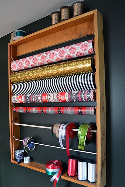 Wrapping Paper Storage Rack In A Craft Room