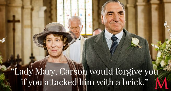 Downton Abbey Season 6 Episode 3 Best Quotes ..Phyllis Logan and Jim Carter .Mrs. Hughes accepts Lady Mary's apology with humor, grace…and truth!...