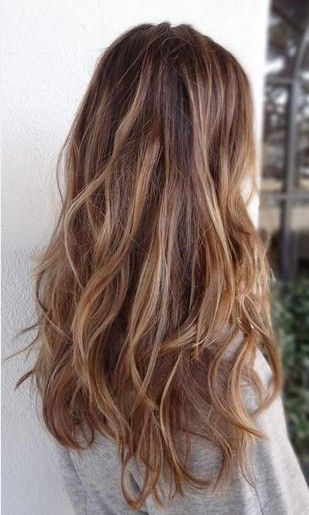 Long Hair Ombre Light brown with peanut butter Wavy Hairstyle