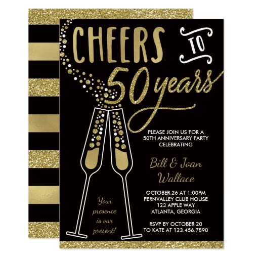The 266 best wedding anniversary party invitations images on 50th wedding anniversary invitation faux glitter card stopboris Images