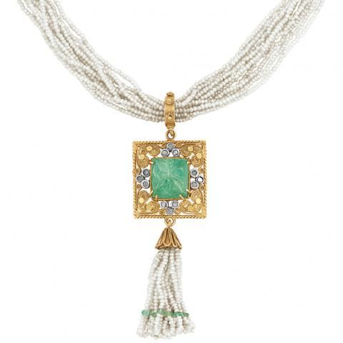 Multistrand Seed Pearl, Gold, Carved Emerald and Diamond Tassel Pendant-Necklace for Sale at Auction on Wed, 12/08/2010 - 07:00 - Important Estate Jewelry   Doyle Auction House