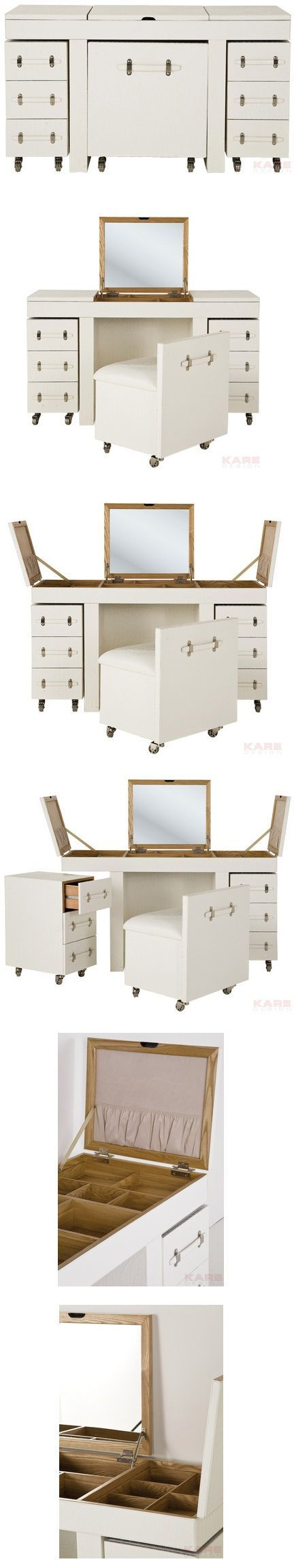 WHAT IS THAT?: A compact vanity/dresser | The White Diva dressing table combination provides everything that a real diva needs and offers plenty of room for cosmetics, hair-styling accessories and jewelry. Consists of a dressing table, stool and two chests of drawers. | Brilliant! Perfect for a small bedroom.