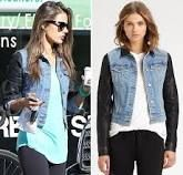 Denim jacket with leather