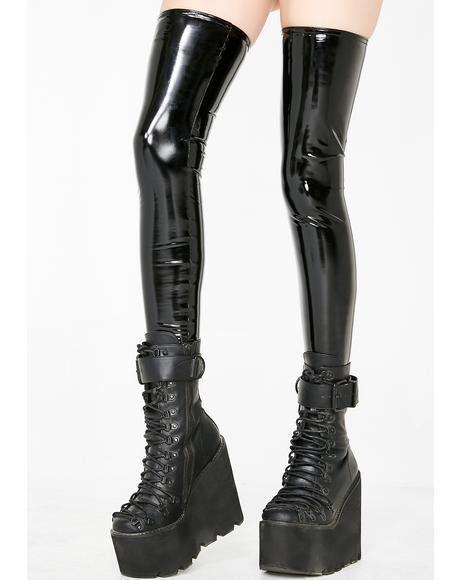 88c8713e620c After Dark PVC Thigh Highs  dollskill  pvc  thigh  highs  black ...