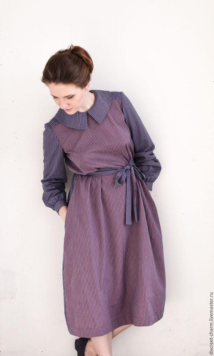 Купить Сине-розовое хлопковое платье с длинным рукавом, в клетку и полоску - платье женское платье