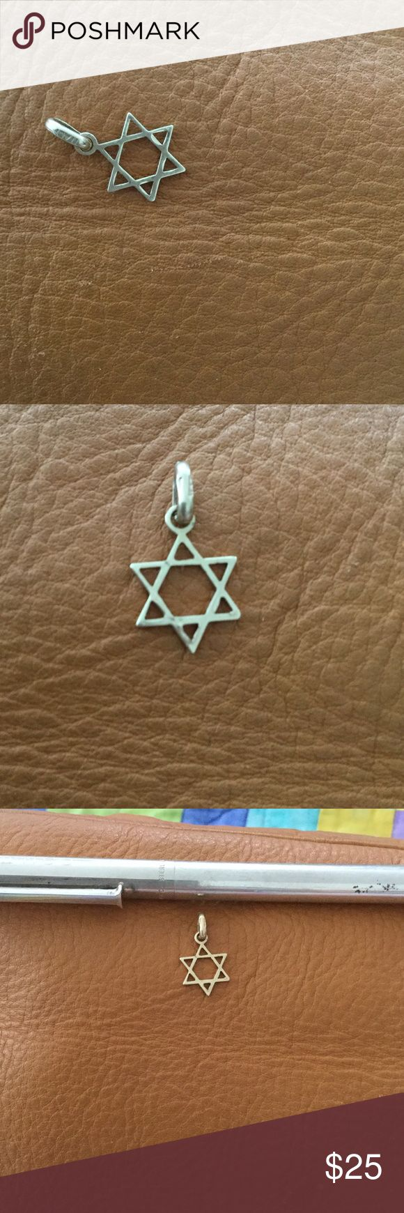14 k Star of David charm or pendant Pretty but small gold star I've been wearing as a pendant on slender chain, but I'm so afraid I'll bend it during sleep. Just keeping in jewelry drawer. Is 14k Jewelry
