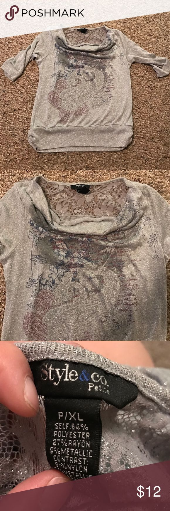 Metallic blouse No damage. Print on front. Has a slouchy front. Style & Co Tops Blouses