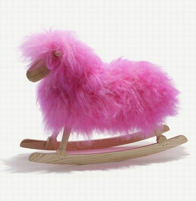 Pink extra fuzzy rocking horse