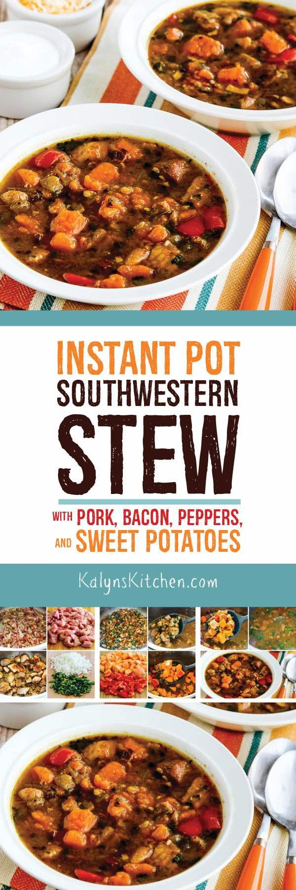 We loved this Instant Pot Southwestern Stew with Pork, Bacon, Peppers, and Sweet Potatoes with some grated Mexican blend cheese and sour cream, but this tasty Instant Pot Pork Stew can be Paleo if you skip the toppings. If you'd like a low-carb version of this, the recipe has instructions for skipping the sweet potatoes as well. [found on KalynsKitchen.com] #InstantPotRecipe #InstantPotStew #InstantPotPorkStew #InstantPotSouthwesternPorkStew