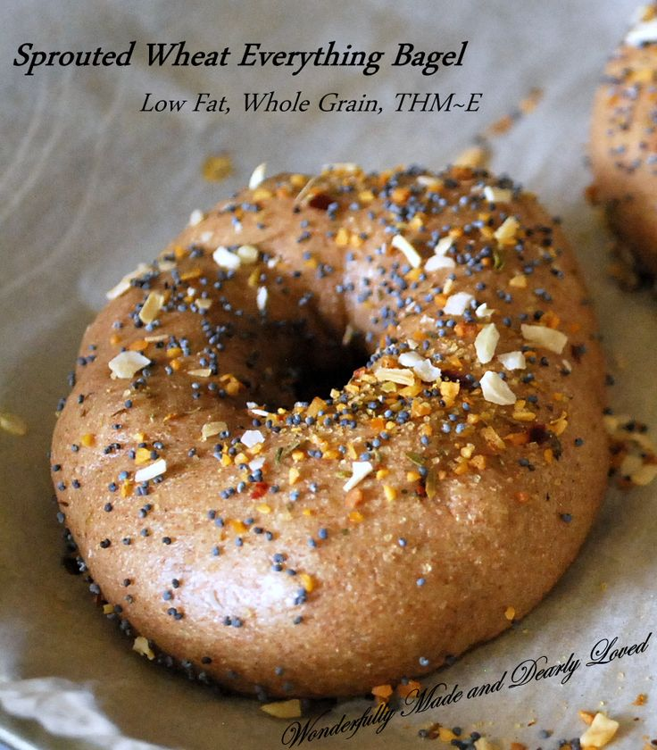 Sprouted Wheat Bagels, made from Sprouted Wheat Dough (Low Fat, Whole Grain, THM~E)