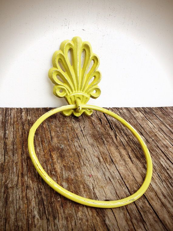BOLD pesto pea green ornate shell bathroom towel ring by BOLDHOUSE