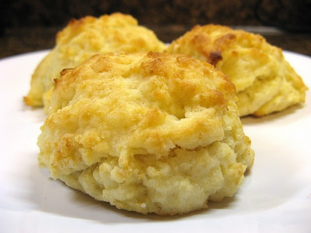 Buttermilk Drop Biscuits. These are delicious and I'll be making them many times for breakfast.  They made 9 for me.  I added a little salt to the melted butter at the end.