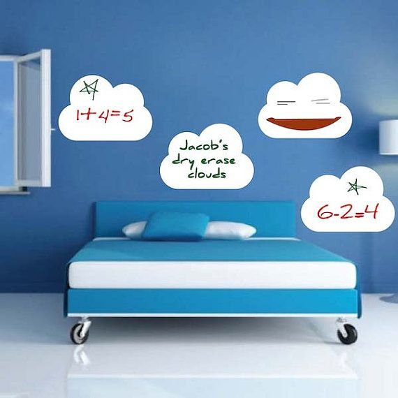 Four Dry Erase Cloud Wall Decals by TrendyWallDesigns on Etsy