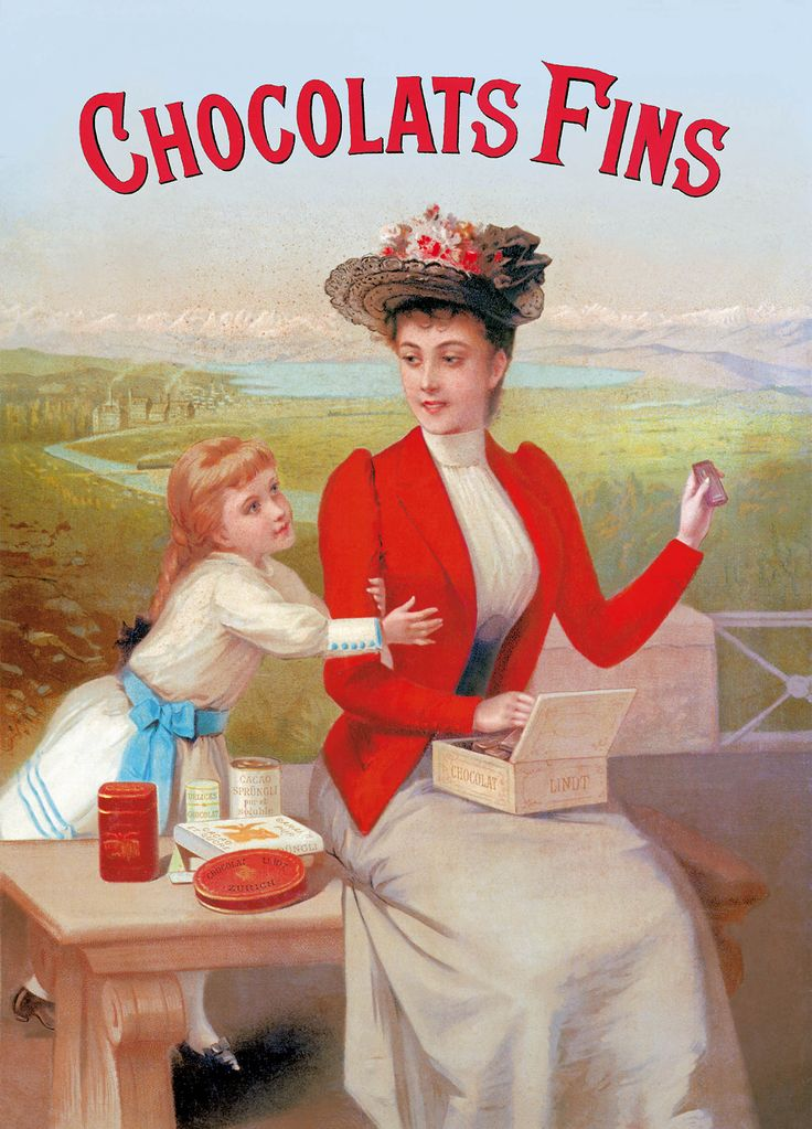Vintage Lindt poster. Lady in red