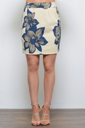 Melissa Graphical Skirt in Floral Blue