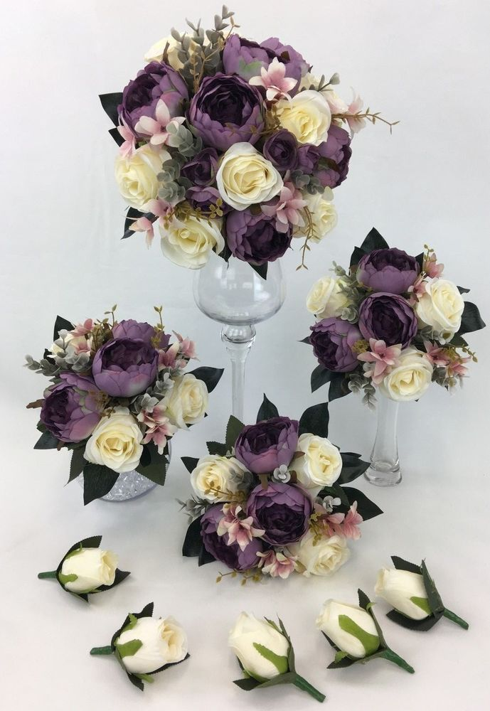 Details About Hand Tied Dusty Purple Peony Cream Rose Flowers