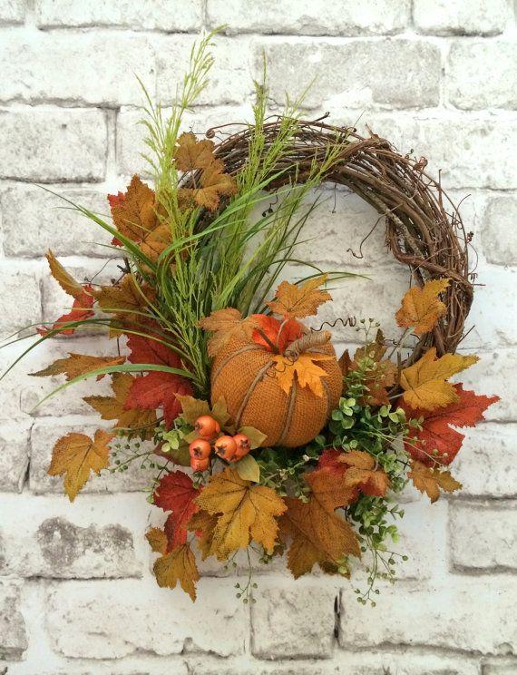Pumpkin Fall Wreath for Door, Pumpkin Wreath, Fall Decor, Front Door Wreath,Outdoor Wreath,Thanksgiving Decor,Grapevine Wreath,Autumn Wreath