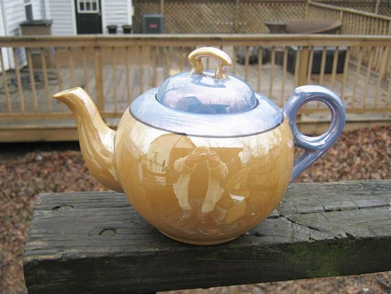 Peach And Blue Luster Ware Tea Pot Vintage Made In Japan