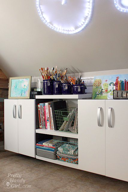 Cool FlowWall cabinets. This is definitely DIY friendly storage!!!