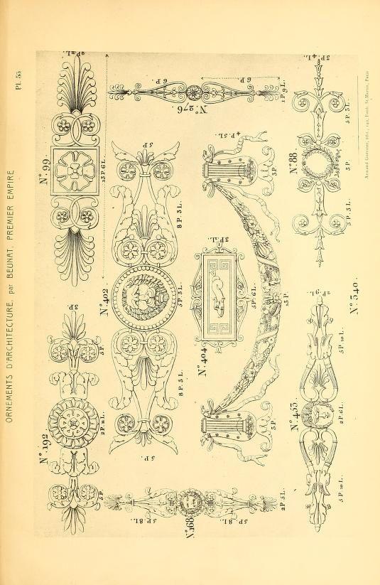 more@ - 1900 - Dessins d'ornements d'architecture de Joseph Beunat : reproduction de l'ouvrage, epoque du premier Empire by Beunat, Joseph