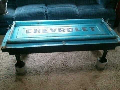 Chevy pickup tailgate coffee table #repurpose #upcycle #auto parts...not a fan of this particular one necessarily but like the idea