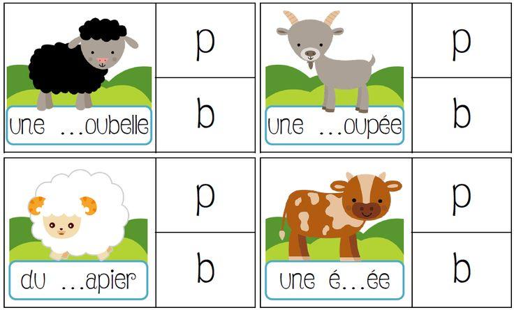 Jeu de pince sur les sons : discrimination des sons en CP ou CE1 ; p b