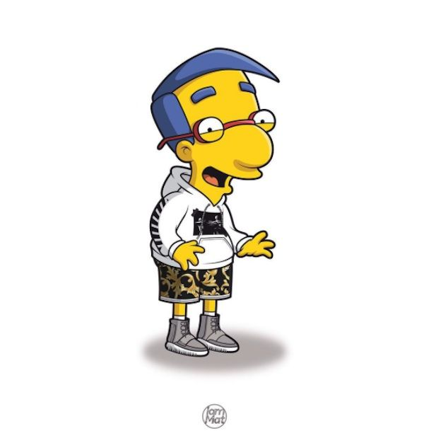 The simpsons characters illustrated in street wear as famous rap stars by mattia