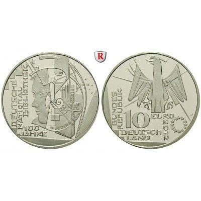 Bundesrepublik Deutschland, 10 Euro 2012, Deutsche Nationalbibliothek, D, bfr.: Kupfer-Nickel-10 Euro 2012 D. Deutsche… #coins