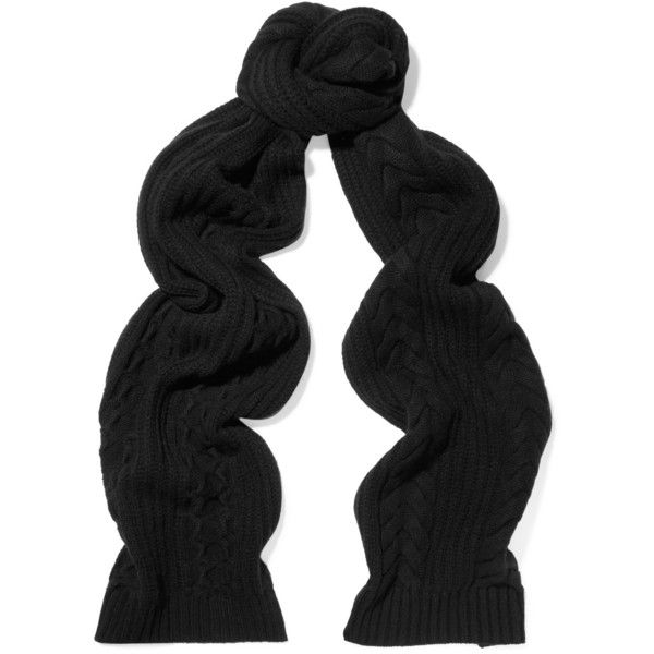 N.Peal Cashmere - Cable-knit Cashmere Scarf ($162) ❤ liked on Polyvore featuring accessories, scarves, black, cable knit shawl, cashmere shawls, cashmere scarves and cable knit scarves