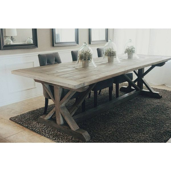 Made to Order 108 Inch X Style Farmhouse Trestle Table ($795) ❤ liked on Polyvore featuring home, furniture, tables, dining tables, dining room furniture, grey, home & living, kitchen & dining tables, handmade furniture and jacobean furniture
