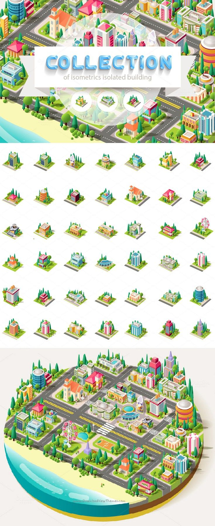 Big set of isometrics building #graphics #Vector #illustrations #building with arranged territory for business center info graphics elements on a white background download now➩ https://creativemarket.com/Art_Boutique/936056-Big-set-isometrics-building?u=Datasata