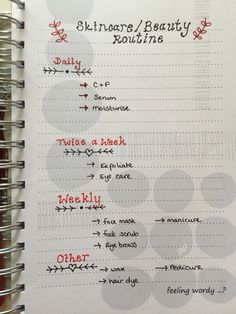 Bullet Journal ideas spreads and inspiration my current bullet journal spread Skincare Beauty Routine. Planner ideas.