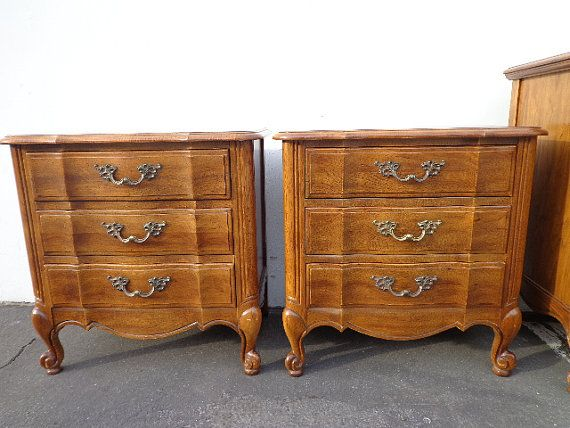 Lovely Pair of Scalloped French Provincial Night Stands Bedside Tables Nightstands Accent Table Side End Regency Glam Chalk Paint Storage on Etsy, $350.00