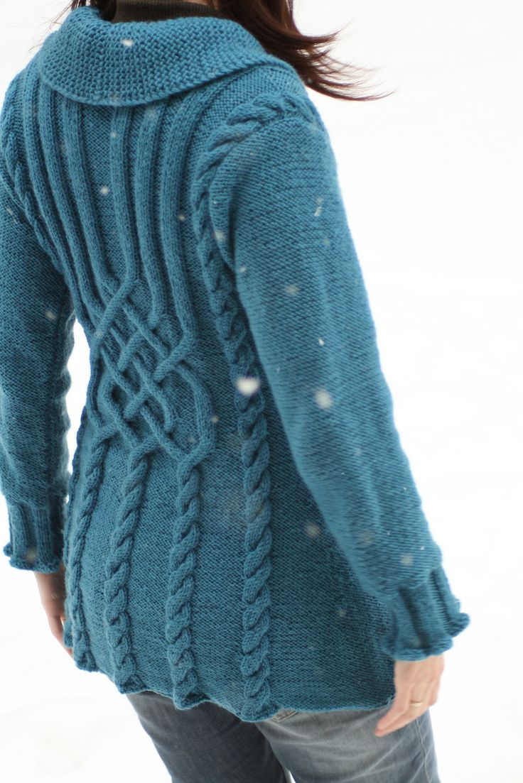 """Ravelry: Project Gallery for 134-1 """"Bluebird""""- Jacket with cables in Karisma Superwash pattern by DROPS design-free pattern"""