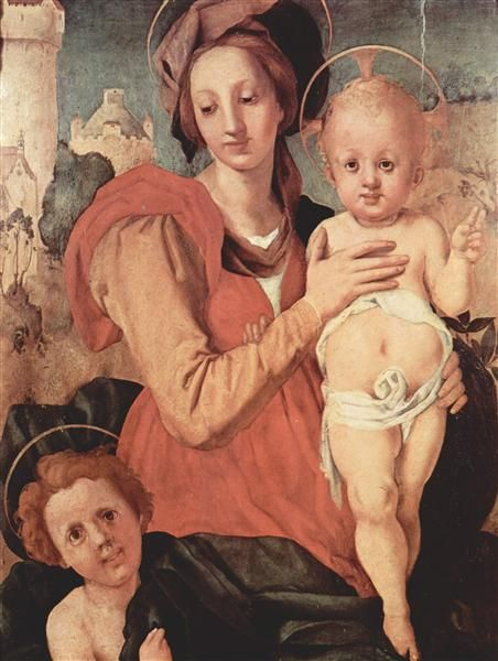 Madonna and Child with the Young Saint John, 1524 by Jacopo Pontormo. Mannerism (Late Renaissance). religious painting