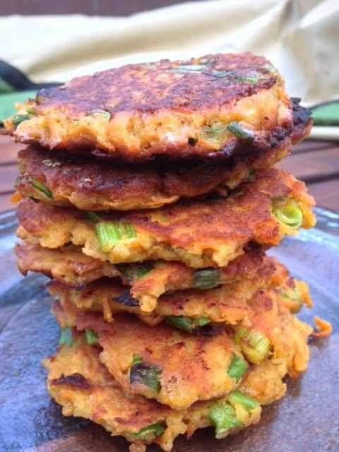 Sweet Potato Fritters | Planks, Love , and Guacamole - I changed this up and use white sweet potatoes and almond flour instead of coconut for a not-so-sweet version.  Love these!
