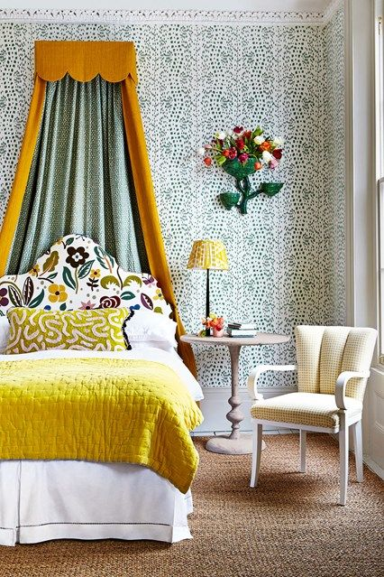 A lovely floral scheme for the bedroom. Greens and yellows keep the space looking fresh and spring-like.