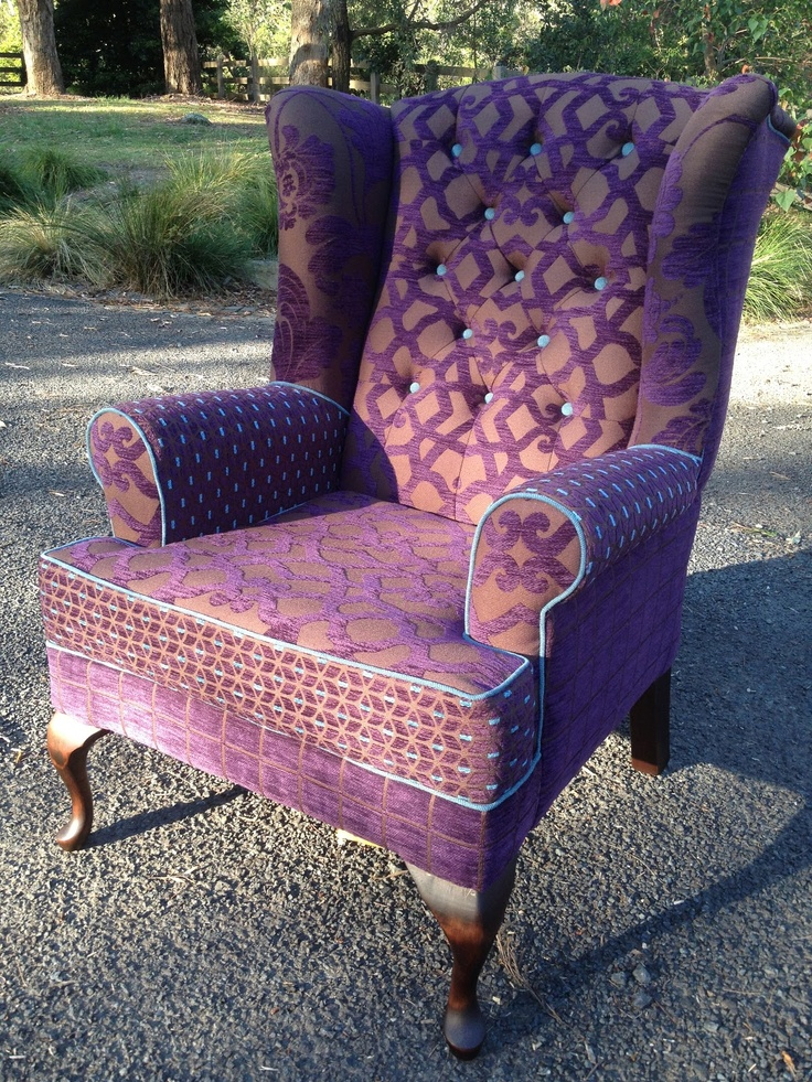32 best images about wing back chairs on pinterest for Funky fabric dining chairs