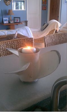 A boat propeller makes a great votive holder.