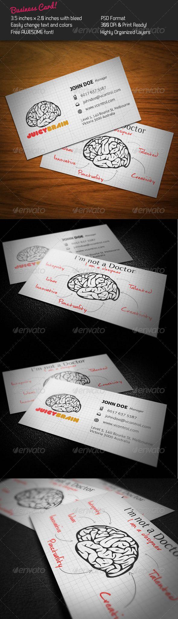 1750 best minimal business card images on pinterest minimal juicy brain business card reheart Images