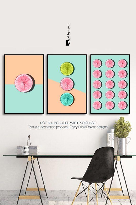 Decoración de frutas cítricas cocina cartel impresión