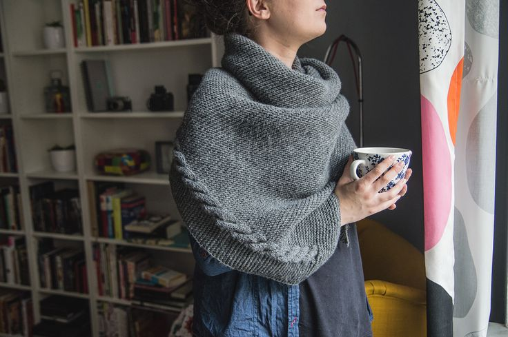 Sideways Bias Triangle Shawl - knitted perfect winter shawl
