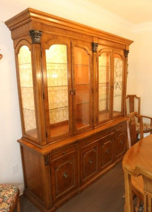 Item 1 Thomasville Dining Room Set Including A Two Part Step Back Hutch